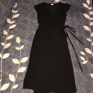 J. Crew Black Jersey Wrap Dress